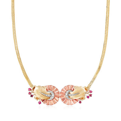 C. 1970 Vintage .80 ct. t.w. Ruby and .35 ct. t.w. Diamond Fan Necklace in 14kt Tri-Colored Gold, , default