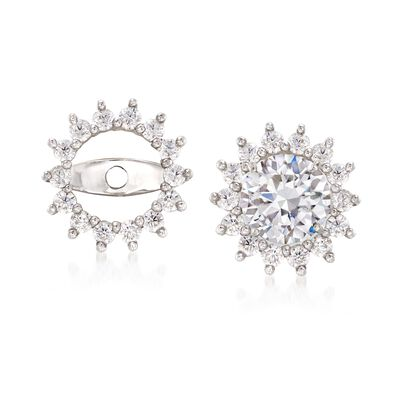 .25 ct. t.w. CZ Starburst Earring Jackets in 14kt White Gold , , default