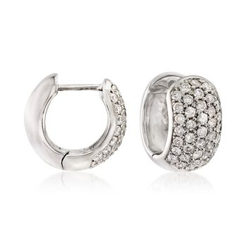 "1.00 ct. t.w. Diamond Huggie Hoop Earrings in 14kt White Gold. 3/8"", , default"
