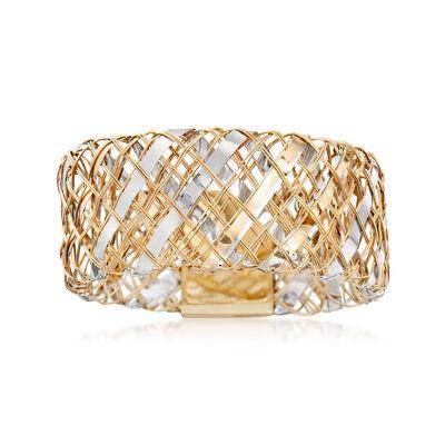 Italian 14kt Two-Tone Gold Flexible Woven Ring, , default