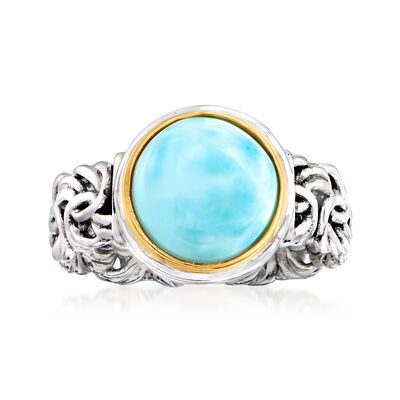 Larimar Byzantine Ring in Sterling Silver with 14kt Yellow Gold