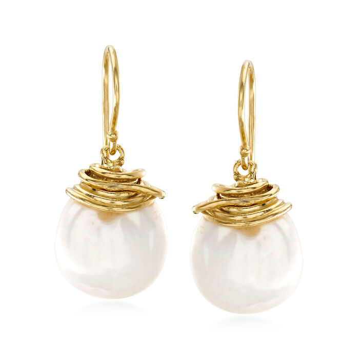 12-13mm Cultured Baroque Coin Pearl Drop Earrings in 18kt Gold Over Sterling
