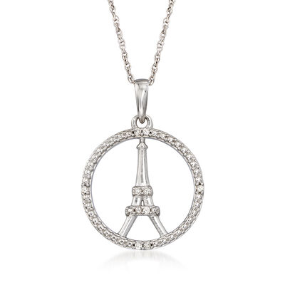 Eiffel Tower Pendant Necklace with Diamond Accents in 14kt White Gold