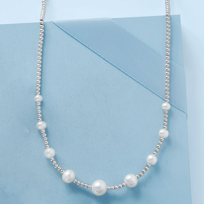 5-10.5mm Graduated Cultured Pearl and Sterling Silver Bead Necklace