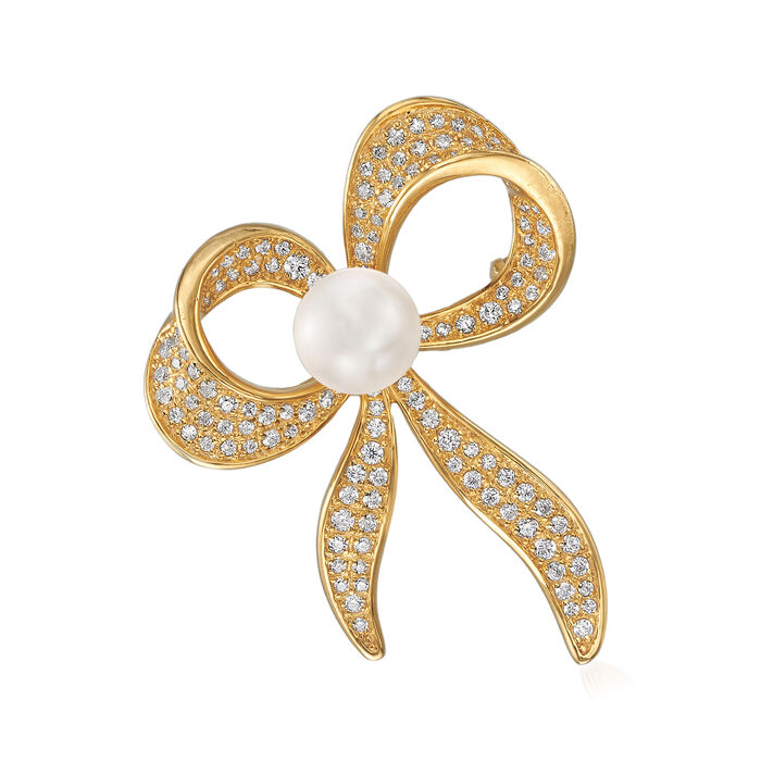 8mm Shell Pearl and 1.10 ct. t.w. CZ Bow Pin in 18kt Gold Over Sterling