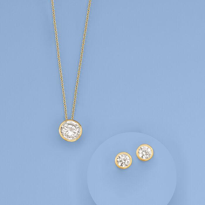 2.00 Carat Bezel-Set CZ Solitaire Necklace in 14kt Yellow Gold