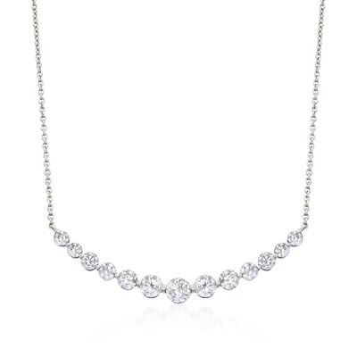 2.70 ct. t.w. CZ Curved Bar Necklace in Sterling Silver, , default