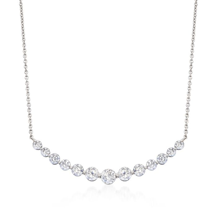 2.70 ct. t.w. CZ Curved Bar Necklace in Sterling Silver