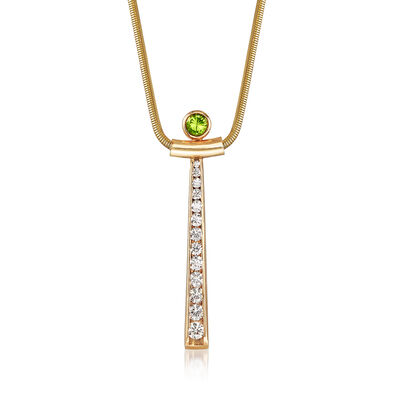C. 1980 Vintage 1.00 ct. t.w. Diamond and .30 Carat Peridot Drop Necklace in 14kt Yellow Gold, , default