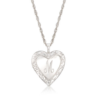 Engravable Heart Locket Pendant Necklace in Sterling Silver, , default