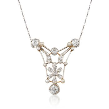 """C. 1910 Vintage 2.8-3.2mm Cultured Pearl and 2.15 ct. t.w. Diamond Open Floral Necklace in Platinum and 18kt Gold. 18.5"""", , default"""