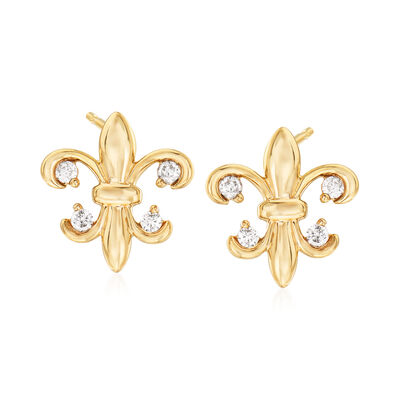 .15 ct. t.w. Diamond Fleur-De-Lis Earrings in 14kt Yellow Gold