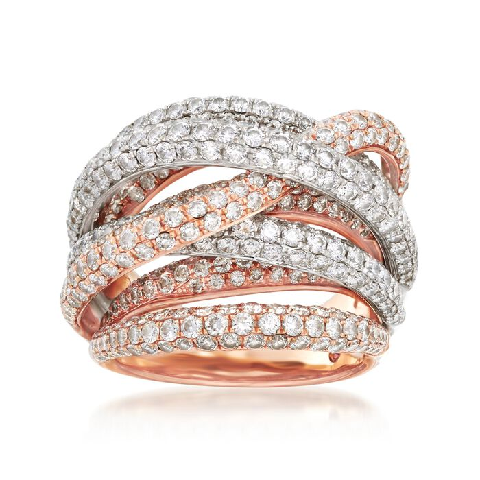Roberto Coin 4.99 ct. t.w. Diamond Crossover Ring in 18kt Two-Tone Gold, , default