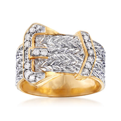 .25 ct. t.w. Diamond Buckle Ring in Sterling Silver and 18kt Gold Over Sterling