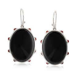 Black and Red Agate Drop Earrings in Sterling Silver, , default