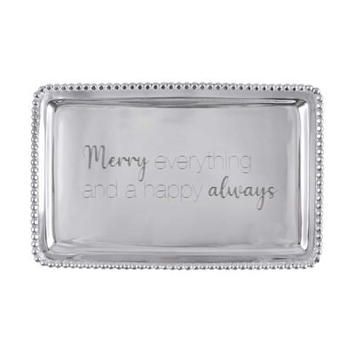 "Mariposa ""Traditions"" Merry Everything and a Happy Always Beaded Buffet Tray"