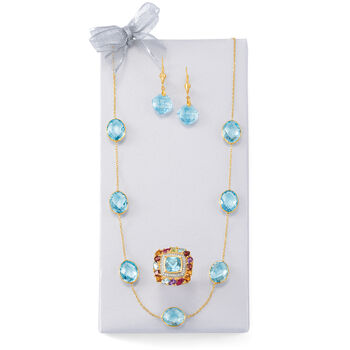 35.00 ct. t.w. Blue Topaz Station Necklace in 14kt Yellow Gold, , default