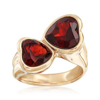 5.90 ct. t.w. Garnet Heart Bypass Ring in 14kt Yellow Gold, , default