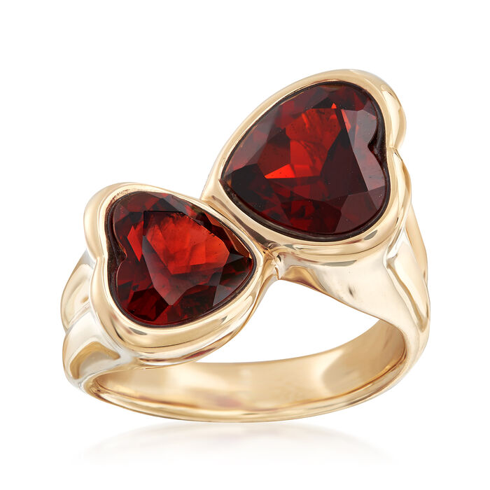 5.90 ct. t.w. Garnet Heart Bypass Ring in 14kt Yellow Gold