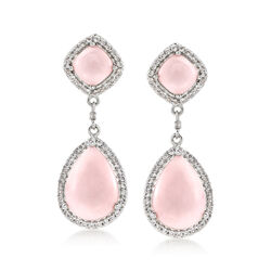 Pink Opal and 1.10 ct. t.w. White Topaz Drop Earrings in Sterling Silver, , default