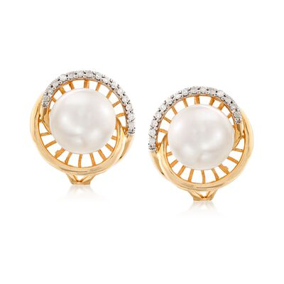 8-8.5mm Cultured Pearl and .12 ct. t.w. Diamond Earrings in 14kt Yellow Gold , , default