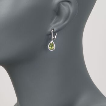 2.60 ct. t.w. Peridot and .40 ct. t.w. Diamond Drop Earrings in 14kt White Gold, , default