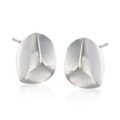 Italian Sterling Silver Nugget Earrings, , default
