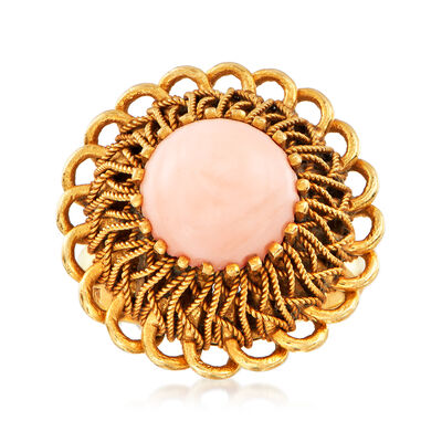 C. 1970 Vintage 9mm Coral Ring in 18kt Yellow Gold, , default