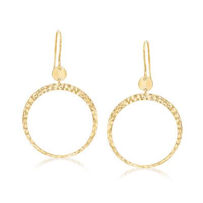 Italian 14kt Yellow Gold Diamond-Cut Circle Earrings, , default