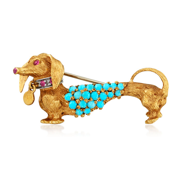 C. 1970 Vintage Turquoise and .20 ct. t.w. Ruby Dog Pin in 18kt Yellow Gold