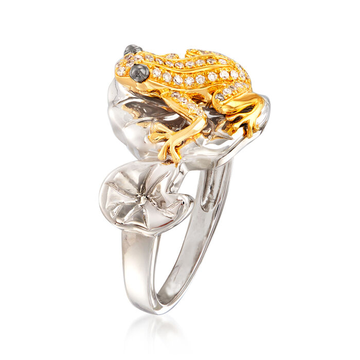 .15 ct. t.w. Diamond Frog Ring in Sterling Silver and 18kt Gold Over Sterling