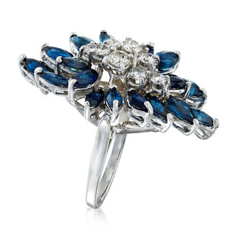 C. 1990 Vintage 2.70 ct. t.w. Sapphire and .75 ct. t.w. Diamond Cluster Ring in 14kt White Gold. Size 6.5