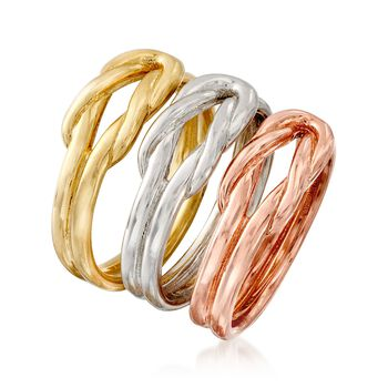 Italian Tri-Colored Sterling Silver Jewelry Set: Three Love Knot Rings, , default