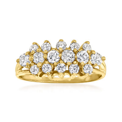 C. 1990 Vintage 1.00 ct. t.w. Diamond Cluster Ring in 14kt Yellow Gold