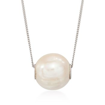 """10-10.5mm Cultured Pearl Pendant Necklace in Sterling Silver. 18"""", , default"""