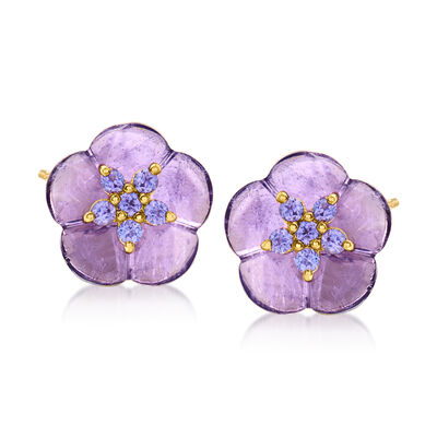 5.50 ct. t.w. Amethyst and .30 ct. t.w. Tanzanite Flower Earrings in 18kt Gold Over Sterling
