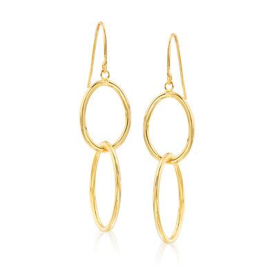 Italian 14kt Yellow Gold Double-Oval Drop Earrings, , default