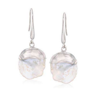 15-16mm Cultured Keshi Pearl Drop Earrings in Sterling Silver, , default