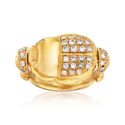 C. 1980 Vintage .66 ct. t.w. Diamond Beetle Ring in 18kt Yellow Gold, , default