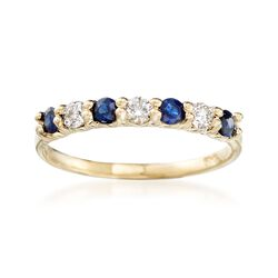 .50 ct. t.w. Sapphire and .20 ct. t.w. Diamond Ring in 14kt Yellow Gold, , default