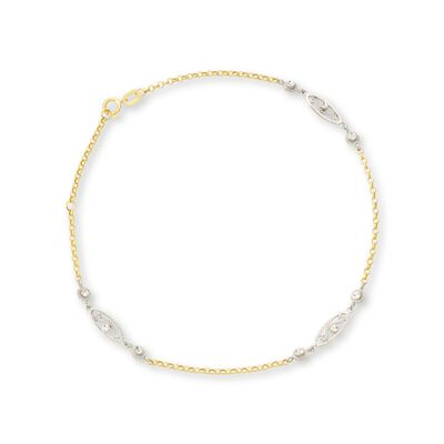 14kt Two-Tone Gold Station Anklet, , default