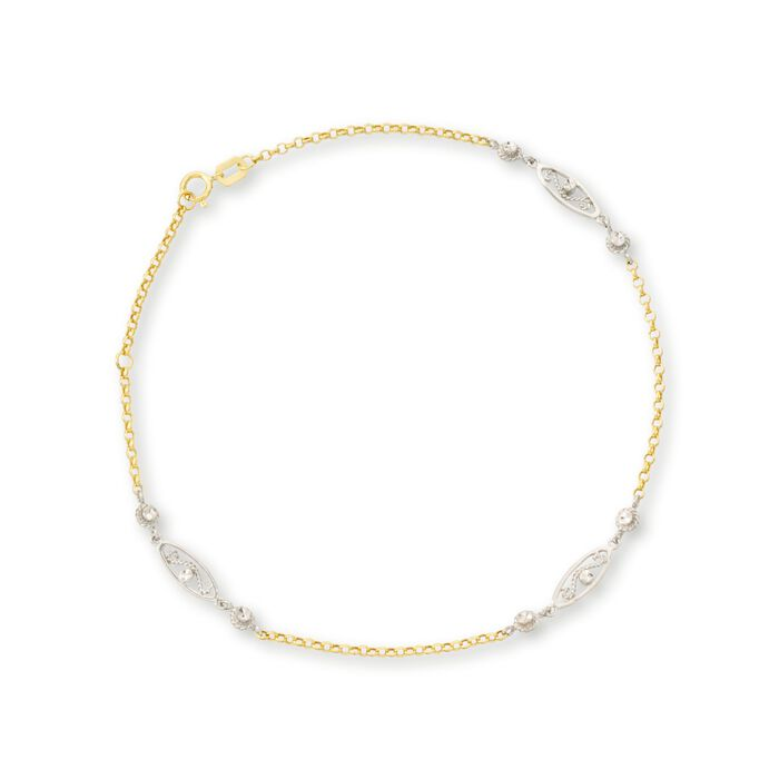 14kt Two-Tone Gold Station Anklet. 10""