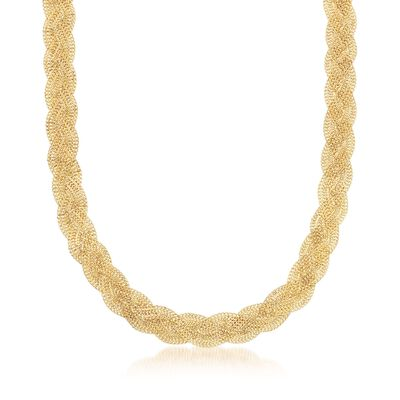 Italian 14kt Yellow Gold Braided Curb-Chain Necklace, , default