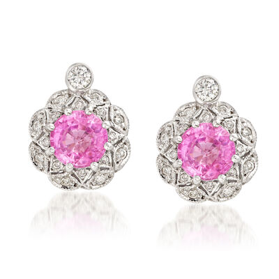C. 1990 Vintage 2.00 ct. t.w. Pink Sapphire and .35 ct. t.w. Diamond Earrings in 14kt White Gold , , default