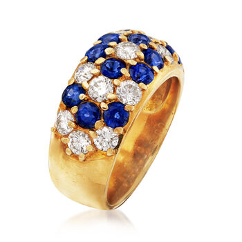 C. 1980 Vintage 2.00 ct. t.w. Sapphire and 1.41 ct. t.w. Diamond Flower Ring in 18kt Yellow Gold. Size 6.5