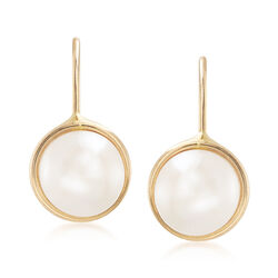 6-7mm Cultured Pearl Drop Earrings in 14kt Yellow Gold, , default