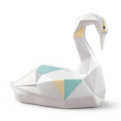 "Lladro ""Origami"" Porcelain Swan Figurine, , default"