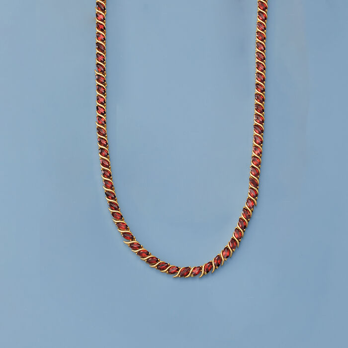 20.00 ct. t.w. Garnet Tennis Necklace in 18kt Yellow Gold Over Sterling Silver