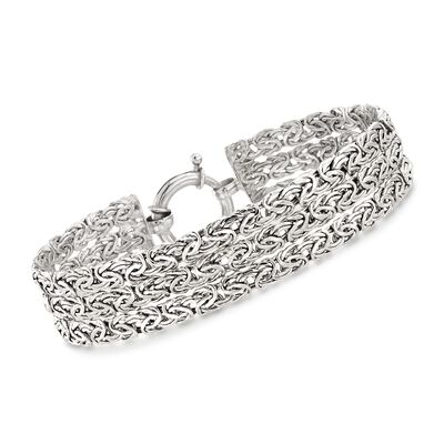 Sterling Silver Three-Row Byzantine Bracelet, , default