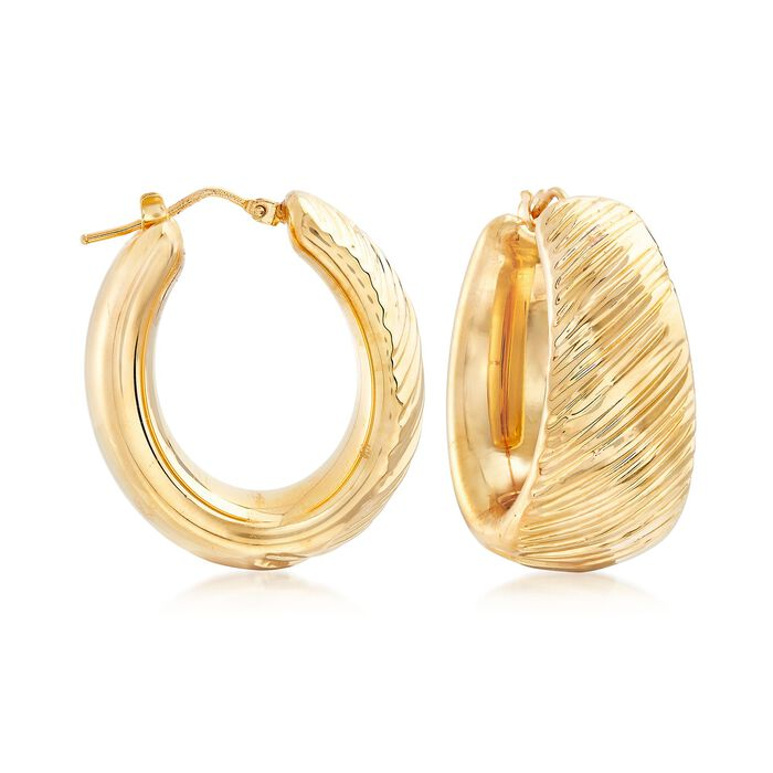 "Italian Andiamo 14kt Yellow Gold Striped Texture Hoop Earrings. 1 1/8"", , default"
